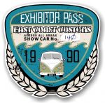 Aged Vintage 1990 Dated Car Show Exhibitor Pass Design Vinyl Car sticker decal  89x87mm